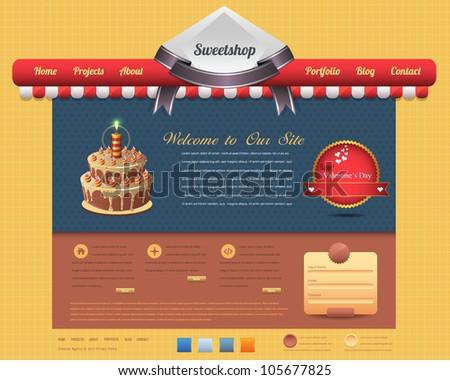Sweet Shop Style Website design vector elements