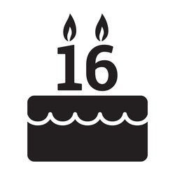 Sweet 16 / sixteen birthday cake for celebration flat vector icon for food apps and websites