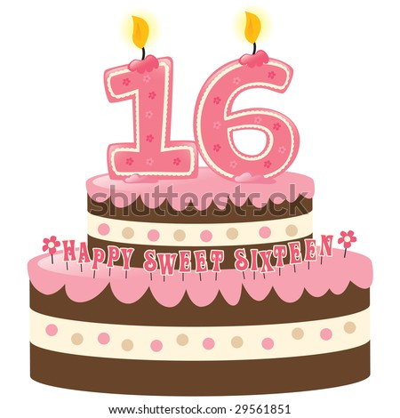 Sweet Sixteen Birthday Cake with Numeral Candles Isolated
