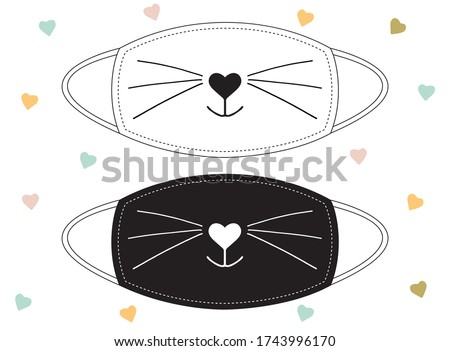 Sweet smiling cat snout black on white background and inverted. Set of designs for decorating of face masks or others.