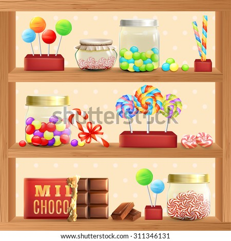 sweet store shelf with bonbons