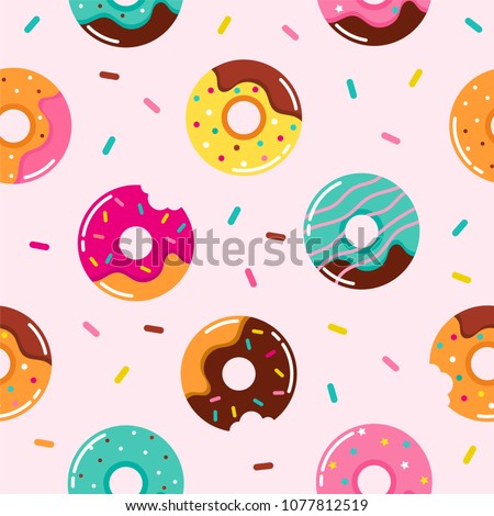 Sweet summer seamless pattern with donuts vector illustrations