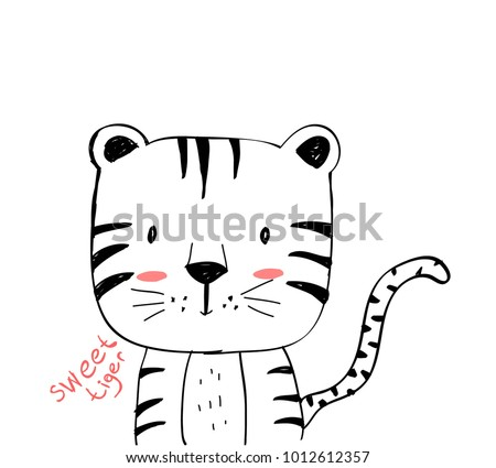 sweet tiger hand drawing