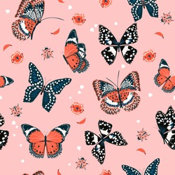 Sweet tone of Butterflies flying in the garden ,lady bug,insect seamless pattern vector scattered repeat for fashion ,fabric ,wallpaper and all prints on pink background color