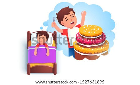 Sweet tooth boy kid sleeping in bed dreaming of eating big cake. Dream cloud with hungry kid wishing to eat huge cake. Child cartoon character lying in bed having good dream. Flat vector illustration