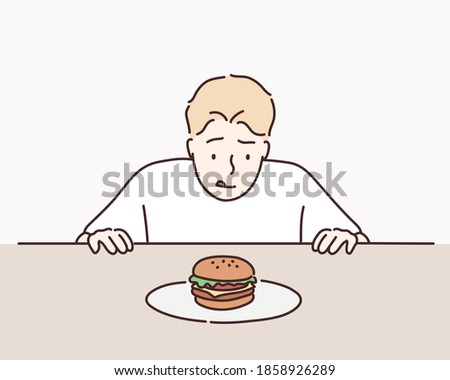 Sweet tooth man on diet tempted by hamburger. Hand drawn style vector design illustrations. Stockfoto ©