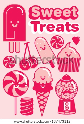 sweet treats/ desserts/ sweet stuffs/ candy template vector/illustration
