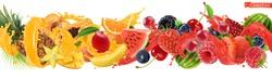 Sweet tropical fruits and mixed berries. Splash of juice. Watermelon, banana, pineapple, strawberry, orange, mango, blueberry, cherry, raspberry, papaya. 3d vector realistic, high quality 50mb eps