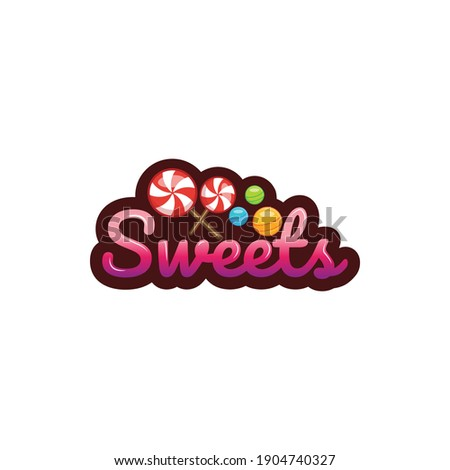 sweet typography logo. sweet teks logo. candy logo. suitable for your company Stok fotoğraf ©