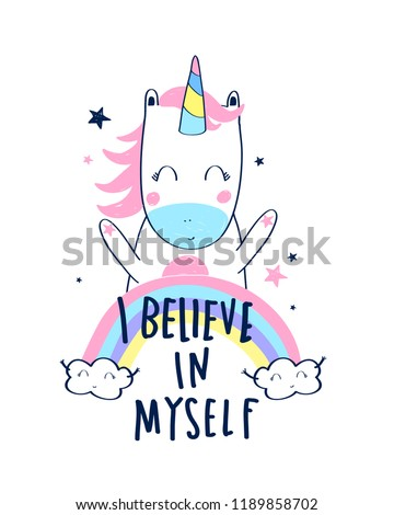 Sweet unicorn illustration vector for print design. #1189858702