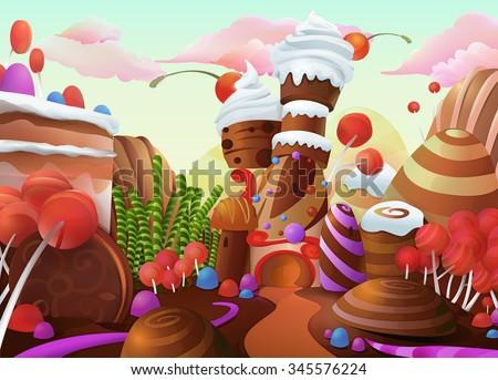 stock vector sweet vector background 345576224 - Каталог — Фотообои «Для детской»