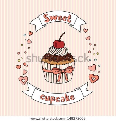Sweet vector cupcake on delicate striped background. Cupcake collection.