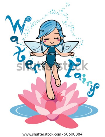 Sweet water fairy girl making relaxation magic levitating on top of a lotus flower