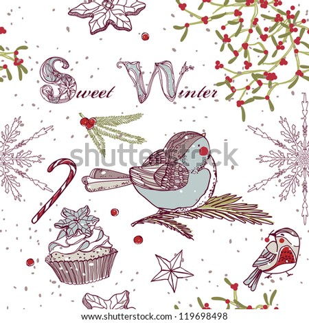 sweet winter seamless pattern - stock vector