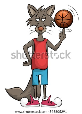 sweet wolf plays in a basket