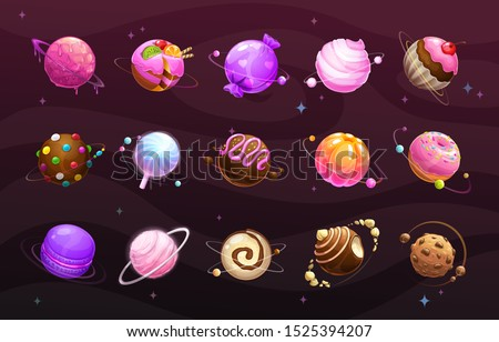 Sweet world concept. Food planets on space background. Cotton candy, cake, macaroon, lolly pop, jelly, chocolate cookie, candy, donut, caramel balls, sweets icons big set. Vector illustration.