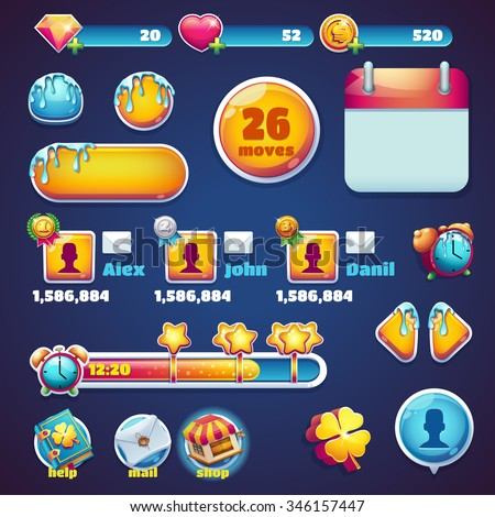 Sweet world mobile GUI set elements games - buttons for video or user interface and web design