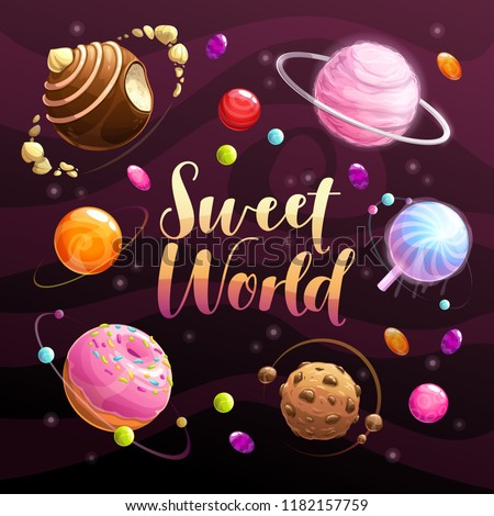 Sweet world poster. Food planets set on the space background. Cotton candy, chocolate cookie, candy, donut, caramel sweets icons. Vector illustration.