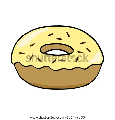 Sweet yellow donut with chocolate sprinkles. Hand drawn illustration vector on white background.
