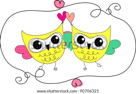 sweet yellow two owls with big eyes