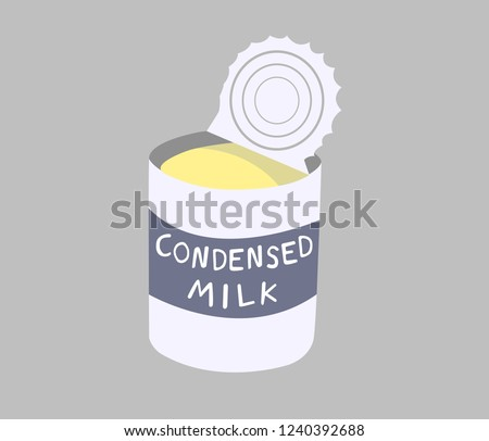 Sweetened condensed milk canned isolated on grey background. Sweetened condensed milk is a dairy product.