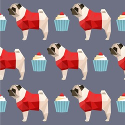 Sweetest repeating seamless pattern with pug bulldog in clothes and cake cupcake. Vector polygonal modern background. It will look great on textiles, wallpaper