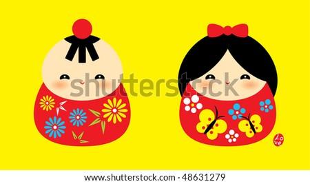sweetie kokeshi couple doodle