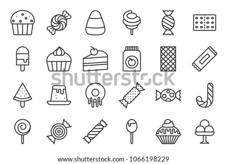 Sweets and candy icon set 2/2, line icon set
