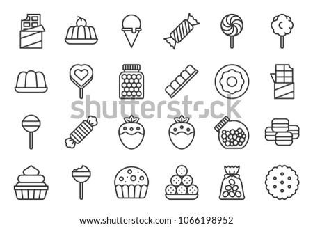 Sweets and candy icon set 1/2, line icon set