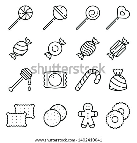 Sweets and candy icon set Line icon set
