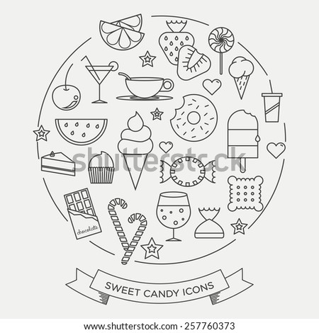 sweets and candy minimal line