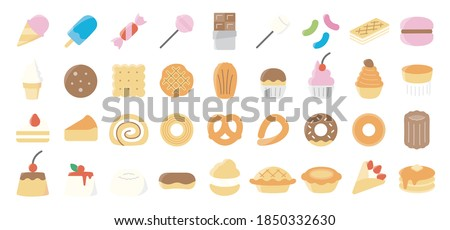 sweets and dessert flat icon set