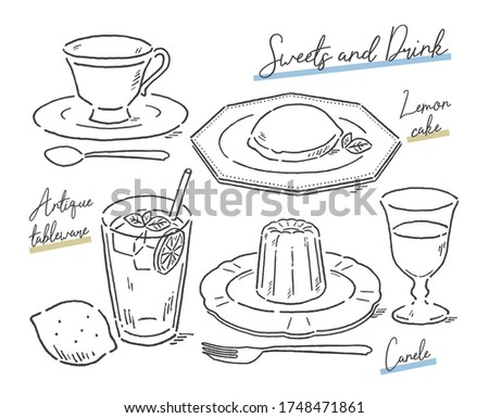 Sweets and drink on antique tableware