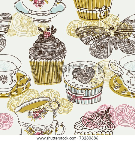 Sweets and tea background