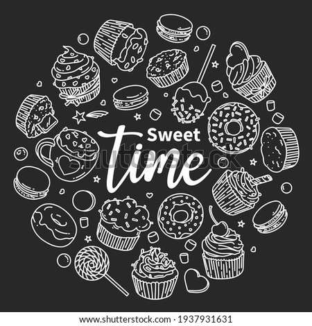 Sweets are arranged in a circle and the inscription Sweet Time. Sweets, candies, cupcakes, macaroons in the style of doodles. Black and white vector illustration. White outline on a black background.