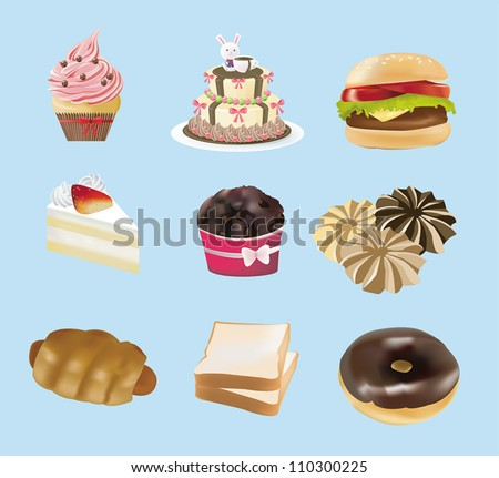 Sweets, bakery,  and fast food collection, create by vector