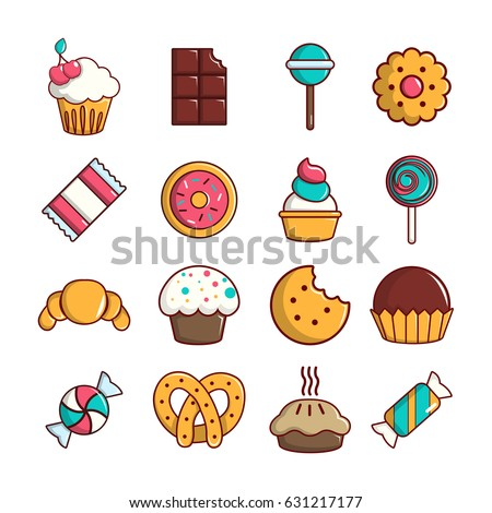 sweets candy cakes icons set
