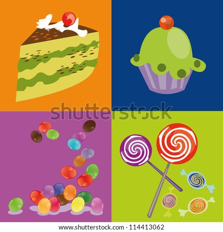 Sweets. Candy. Muffin. Birthday Cake
