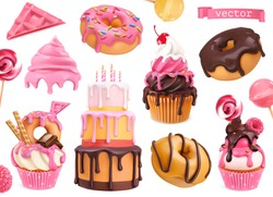 Sweets 3d vector realistic objects. Cupcakes, cake, donuts, candy. Food icons