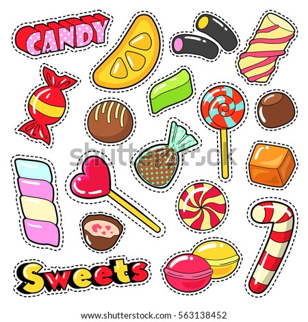 Sweets Food Candies Stickers, Patches, Badges with Lollipop, Chocolate Candy and Jelly. Vector Doodle
