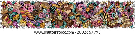 Sweets hand drawn cartoon doodles illustration. Desserts funny objects and elements poster design. Creative background. Colorful vector banner Stockfoto ©