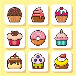 Sweets icons set - cupcakes, cakes, muffins. Vector Isolated flat colorful illustration.