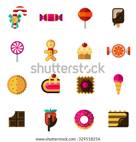 sweets icons set with chocolate