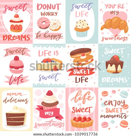 Sweets lettering vector confectionery cupcake sign and sweet confection chocolate dessert with caked candies template for typography illustration confected donut set isolated on white background