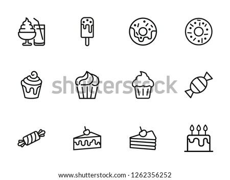 Sweets line icon set. Set of line icons on white background. Confectionery concept. Ice-cream, pie, cake, caramel. Vector illustration can be used for topics like confectionery, sweet, cafe