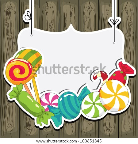 Sweets on strings on the wooden background. Vector illustration.