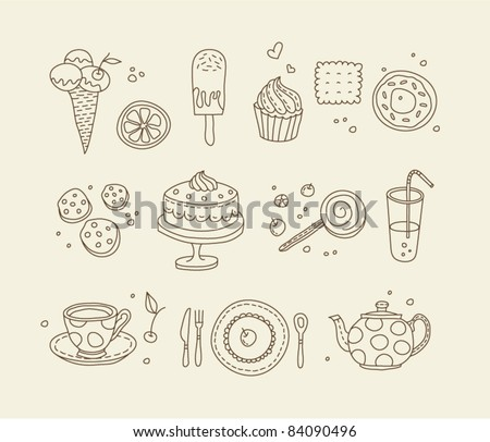 Sweets outlined icons