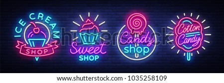 Sweets Shop is collection logos of neon style. Ice cream shop, Cotton Candy. Candy shop collection neon signs, light banner, bright neon sweetening advertisement. Design template. Vector illustration