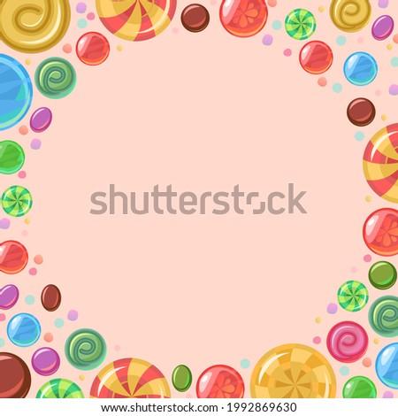 Sweets with hazelnuts. Round frame. Assorted dessert. Candy caramel. Lollipops. Flat background illustration. Vector..vertical