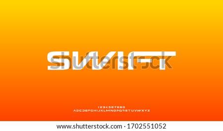 Swift, a bold modern sporty typography alphabet font. vector illustration design